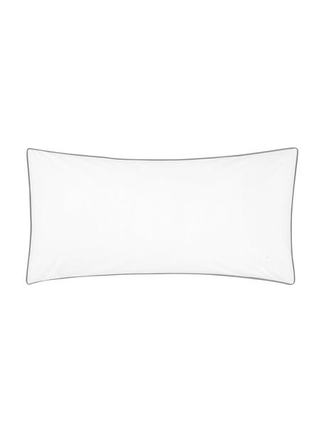 Baumwollperkal-Kopfkissenbezüge Daria in Weiß mit Keder, 2 Stück, Webart: Perkal Fadendichte 200 TC, WeißKederumrandung: Dunkelgrau, 40 x 80 cm