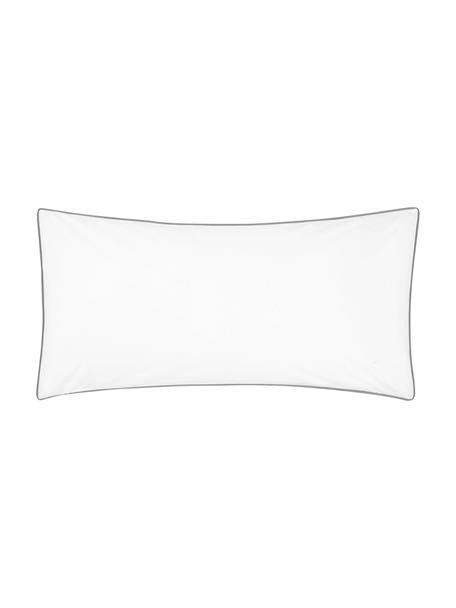 Poszewka na poduszkę z perkalu bawełnianego Daria, 2 szt., Biały Wykończenie brzegów: ciemny szary, S 40 x D 80 cm