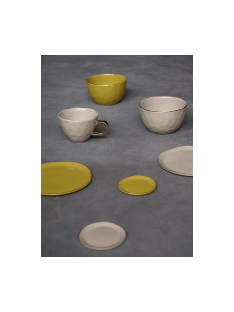 Kommen Good Morning in grijs met goudkleurige rand, Porselein, Grijs, goudkleurig, Ø 14 cm