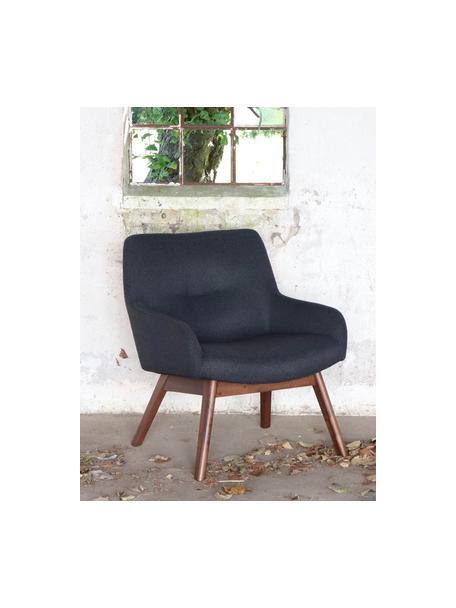 Fotel wypoczynkowy London, Tapicerka: 100% poliester, Nogi: drewno orzecha włoskiego, Ciemnyszary, S 63 x G 65 cm