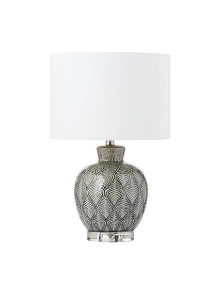 Grote keramische tafellamp Brooklyn, Lampenkap: textiel, Lampvoet: keramiek, Voetstuk: kristalglas, Voetstuk: transparant. Lampvoet: grijs. Lampenkap: crèmekleurig. Snoer: transpar, Ø 33 x H 53 cm