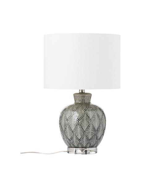 Lampada da tavolo in ceramica Brooklyn, Base della lampada: ceramica, Paralume: tessuto, Bianco, grigio, Ø 33 x Alt. 53 cm