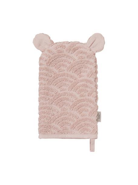 Manopla de baño de algodón ecológico Wave, 100%algodón ecológico, Rosa, An 15 x L 22 cm