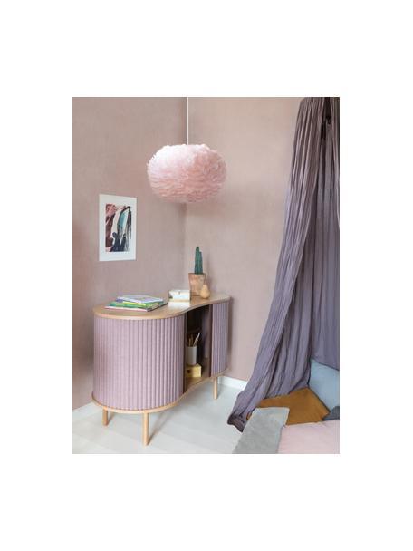 Hanglamp Eos van veren, Lampenkap: ganzenveren, textiel, Baldakijn: kunststof, Crèmekleurig, Ø 45 x H 30 cm