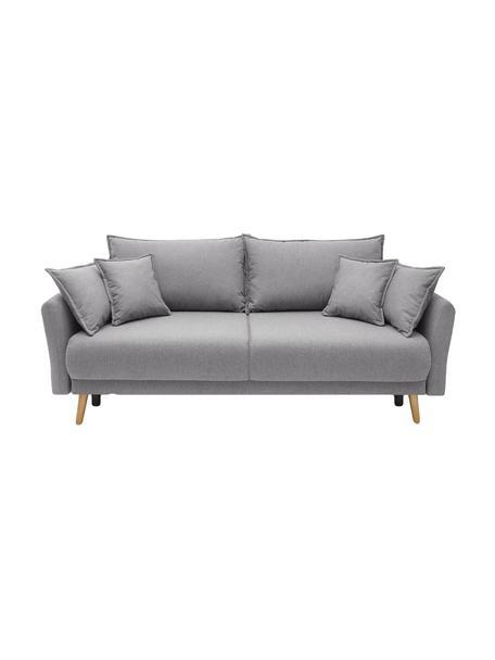Sofá cama Mia (3plazas), con espacio de almacenamiento, Tapizado: cachemir, Patas: madera de haya, Gris claro, An 228 x F 102 cm