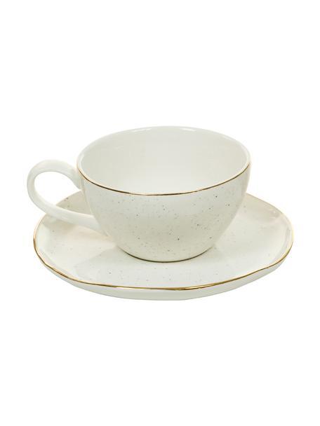 Handgemachte Tassen mit Untertassen Bella mit Goldrand, 2er-Set, Porzellan, Cremeweiß, Ø 10 x H 6 cm