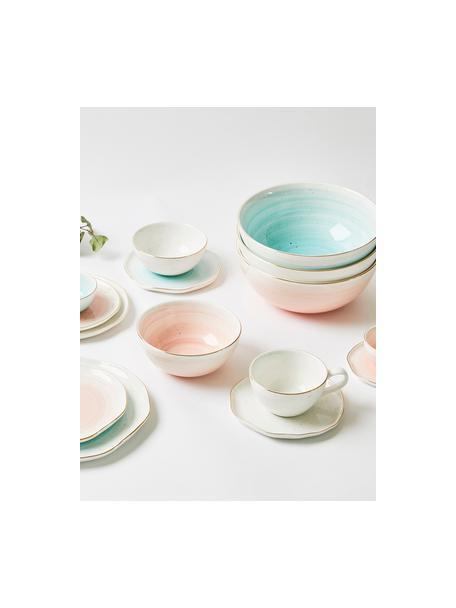 Handgemachte Tassen mit Untertassen Bella mit Goldrand, 2er-Set, Porzellan, Cremeweiss, Ø 10 x H 6 cm
