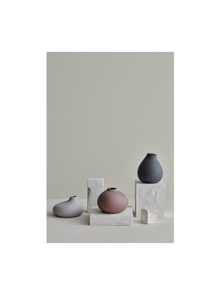 Moderne Vase Nona aus Porzellan, Porzellan, Grau, Ø 15 x H 17 cm