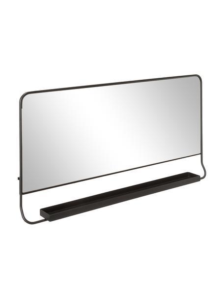 Lustro ścienne z metalową ramą i półką Chic, Czarny, S 80 x W 40 cm