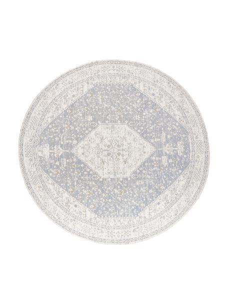Alfombra redonda artesanal de chenilla Neapel, estilo vintage, Parte superior: 95%algodón, 5%poliéster, Reverso: 100%algodón, Gris claro, crema, gris pardo, Ø 150 cm (Tamaño M)