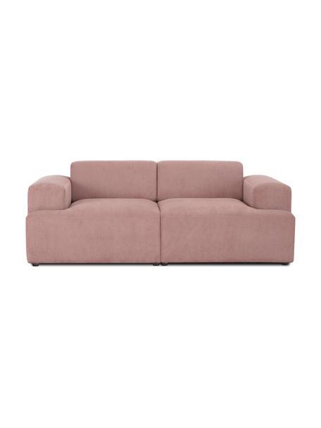 Sofa ze sztruksu Melva (2-osobowa), Tapicerka: sztruks (92% poliester, 8, Stelaż: lite drewno sosnowe, cert, Nogi: tworzywo sztuczne, Sztruksowy blady różowy, S 198 x G 101 cm