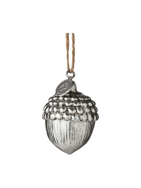 Handgefertigte Baumanhänger Serafina Acron Ø 4 cm, 2 Stück, Silberfarben, Antik-Finish, Ø 4 x H 5 cm