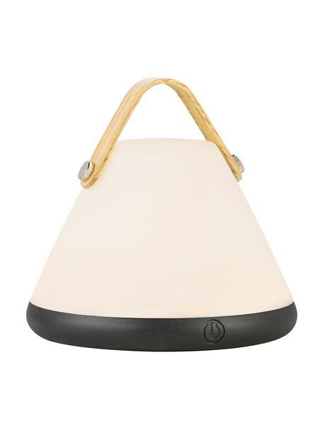 Zewnętrzna mobilna lampa z funkcją przyciemniania Strap, Biały, czarny, drewno naturalne, Ø 15 x W 15 cm