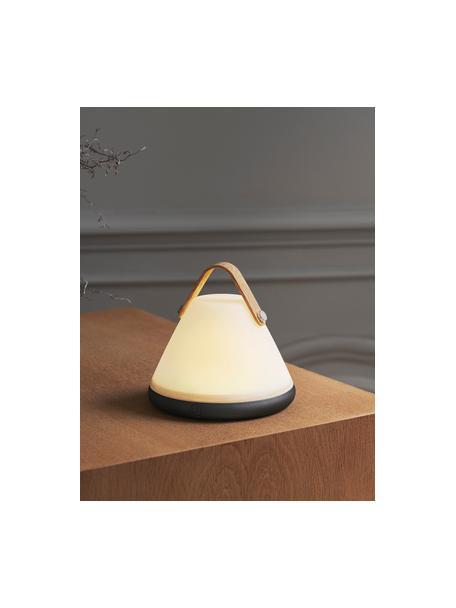 Lámpara de mesa pequeña regulable Move, portátil, Pantalla: plástico, Asa: madera, Blanco, negro, madera, Ø 15 x Al 15 cm