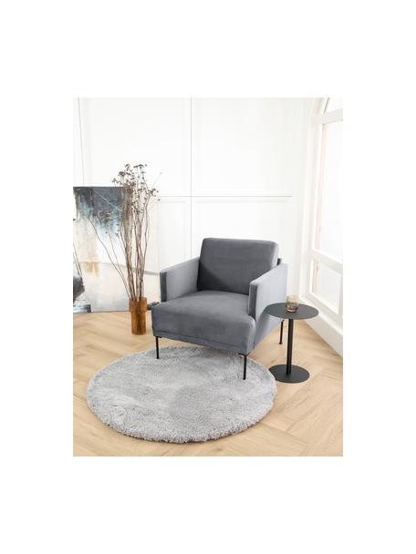 Fluwelen fauteuil Fluente in donkergrijs met metalen poten, Bekleding: fluweel (hoogwaardig poly, Frame: massief grenenhout, Poten: gepoedercoat metaal, Bruingrijs, B 74 x D 85 cm