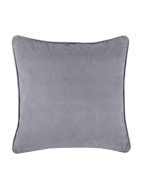 Effen fluwelen kussenhoes Dana in grijs, Katoenfluweel, Grijs, 40 x 40 cm