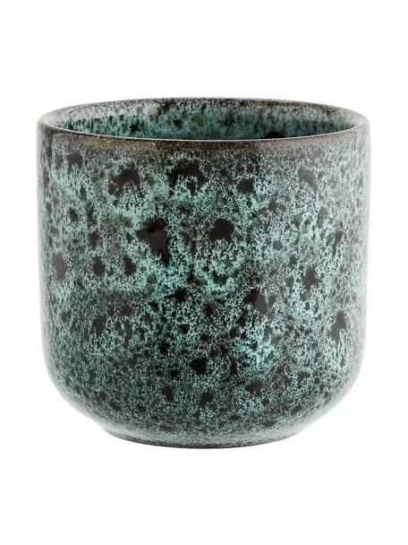 Becher Vingo, 2 Stück, Steingut, Blaugrün, Schwarz, Ø 9 x H 8 cm