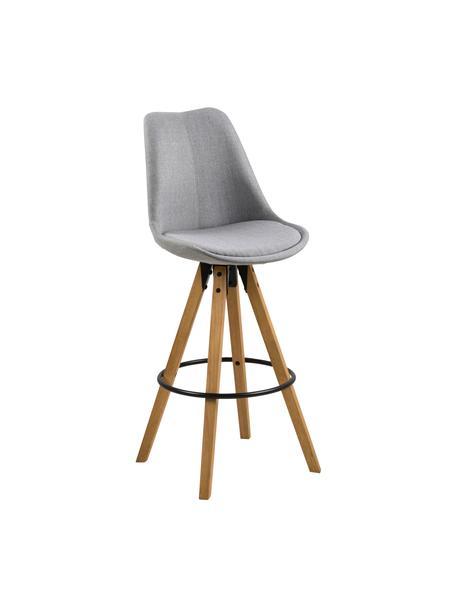 Barstühle Dima in Hellgrau, 2 Stück, Bezug: Polyester 25.000 Scheuert, Beine: Gummibaumholz, gebeizt, Hellgrau, Eichenholz, 49 x 112 cm