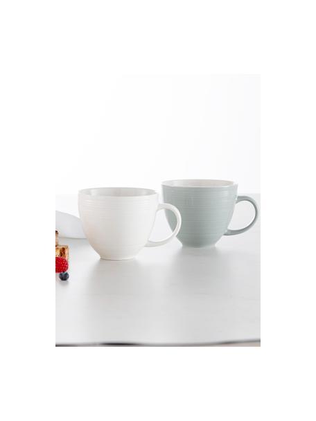 Koffiekopjes Darby met gestructureerd oppervlak, 4 stuks, New Bone China, Groen, gebroken wit, Ø 11 x H 10 cm