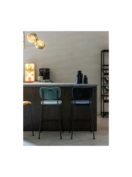 Sedia alta in velluto a coste grigio Beson, Sottostruttura: compensato, Struttura: metallo verniciato a polv, Grigio blu, Larg. 46 x Alt. 92 cm