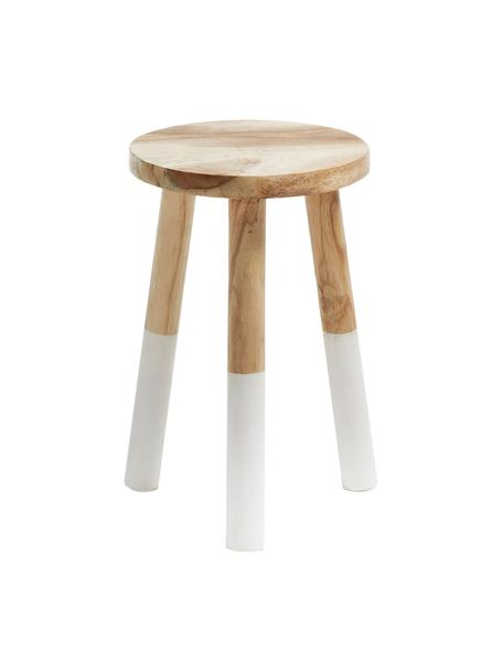 Scandi kruk Brocsy van hout, Gelakt mungur hout, Mungur houtkleurig, wit, 30 x 44 cm