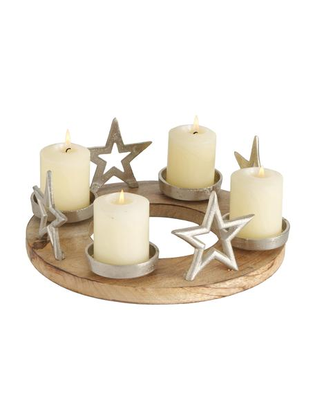 Świecznik Jannow, Drewno mangowe, aluminium niklowane, Drewno mangowe, nikiel, Ø 30 x W 12 cm