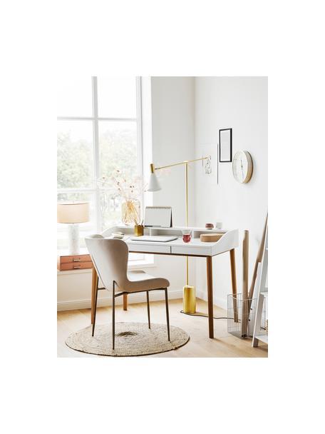Leeslamp Sia in wit-goudkleur, Lampenkap: gepoedercoat metaal, Lampvoet: vermessingd metaal, Wit, messingkleurig, D 60 x H 162 cm