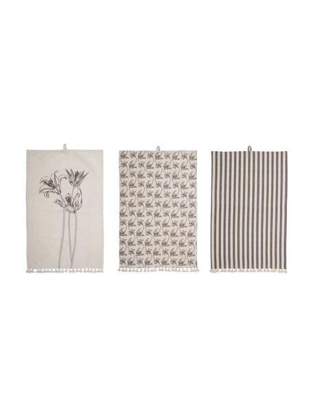 Baumwoll-Geschirrtücher Musa mit verschiedenen Motiven, 3er-Set, Baumwolle, Beige, Schwarz, 45 x 70 cm