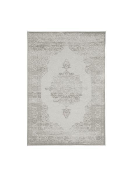 Viscose vloerkleed Willow met verhoogd vintage patroon, glanzend, Bovenzijde: 100% viscose, Onderzijde: latex, Lichtgrijs, B 80 x L 125 cm (maat XS)