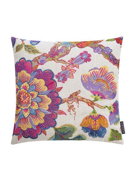 Federa arredo con motivo floreale ricamato Blumon, Retro: 100% velluto di poliester, Sabbia, multicolore, Larg. 40 x Lung. 40 cm