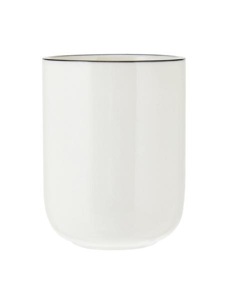 Porzellan Kaffeetasse Facile mit schwarzem Rand, 2 Stück, Porzellan, Schwarz, Ø 8 x H 10 cm