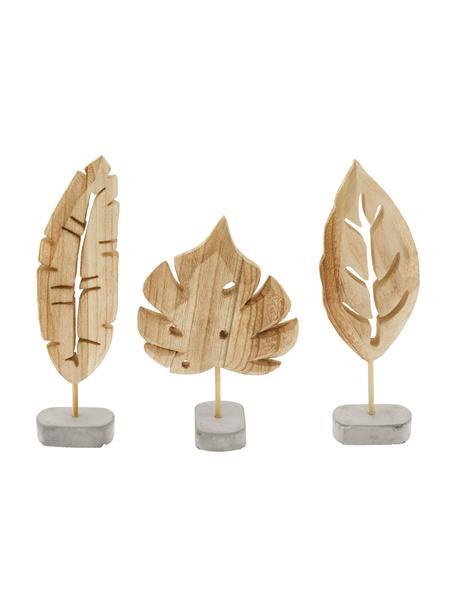 Decoratieve objectenset Blatt, 3-delig, Voetstuk: beton, Voetstuk: grijs. Decoratief object: paulowniahoutkleurig, Set met verschillende formaten