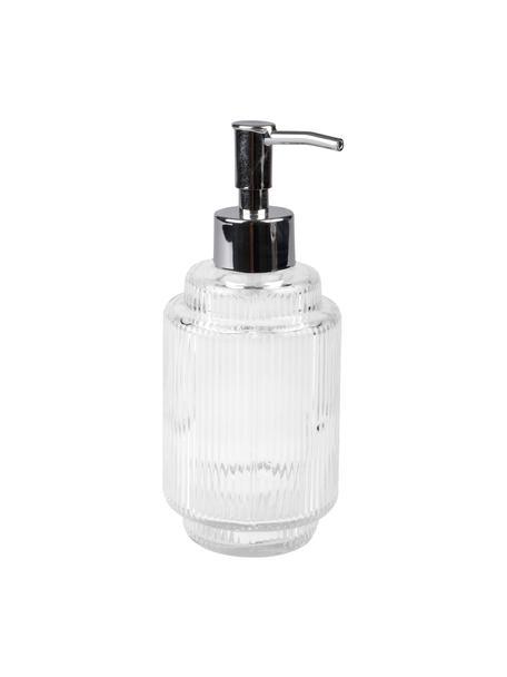Seifenspender Ligia aus geriffeltem Glas, Glas, Transparent, Silberfarben, Ø 8 x H 19 cm