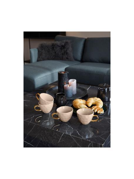 Kopje Good Morning in grijs met goudkleurig handvat, Keramiek, Grijs, goudkleurig, Ø 11 x H 8 cm