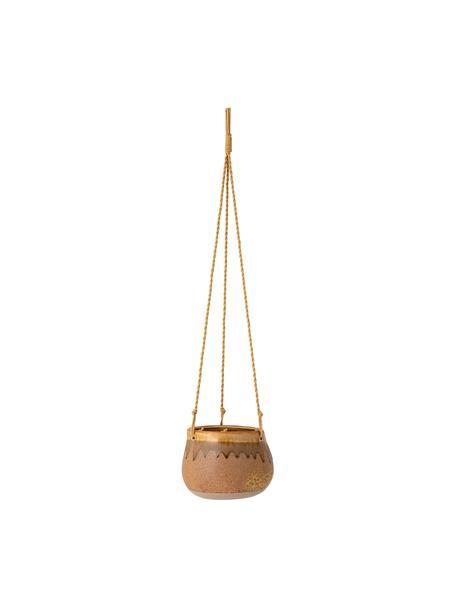 Kleine Blumenampel Ibina aus Steingut, Übertopf: Steingut, Brauntöne, Ø 16 x H 12 cm