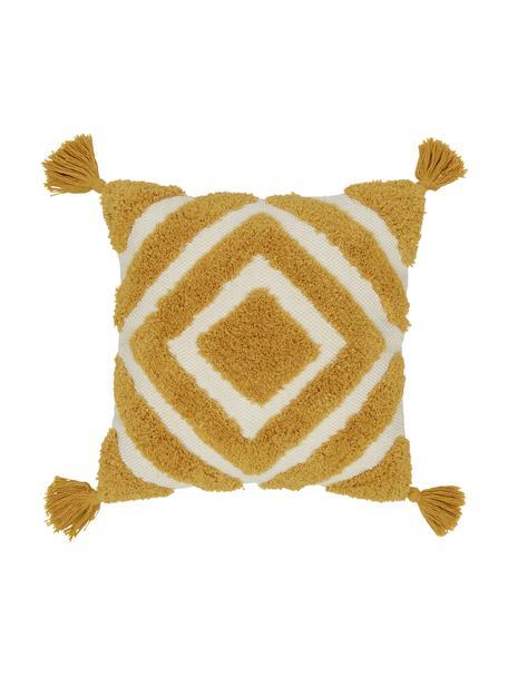 Federa arredo color giallo/bianco crema con motivo a rilievo Karina, 100% cotone, Bianco, beige, giallo, Larg. 45 x Lung. 45 cm