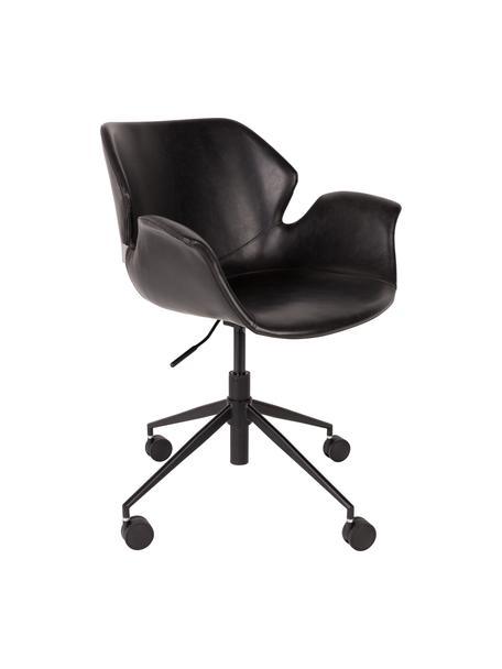 Krzesło biurowe ze sztucznej skóry Nikki, obrotowe, Tapicerka: sztuczna skóra (poliureta, Nogi: metal malowany proszkowo, Czarny, S 77 x G 78 cm
