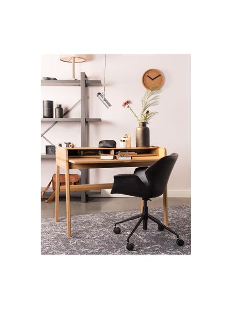 Kunstleder-Bürodrehstuhl Nikki, höhenverstellbar, Bezug: Kunstleder (Polyurethan), Beine: Metall, pulverbeschichtet, Rollen: Kunststoff, Schwarz, B 77 x T 78 cm