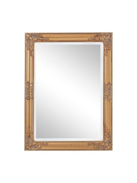 Eckiger Wandspiegel Miro mit goldenem Paulowniaholzrahmen, Rahmen: Paulowniaholz, beschichte, Spiegelfläche: Spiegelglas, Goldfarben, 62 x 82 cm