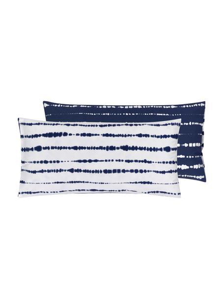 Dwustronna poszewka na poduszkę z organicznego perkalu Remi, 2 szt., Niebieski, biały, S 40 x D 80 cm