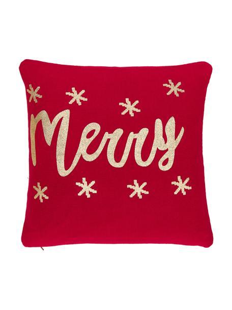 Poszewka na poduszkę z dzianiny Merry, Bawełna, Czerwony, złoty, S 40 x D 40 cm
