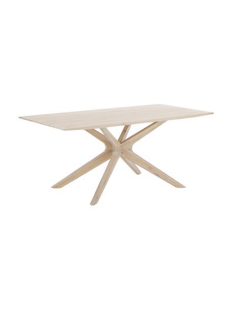 Eettafel Armande, 180 x 90 cm, Gewaxt, wit gelakt eikenhout, Eikenhoutkleurig, B 180 x D 90 cm