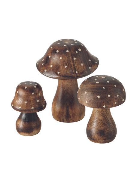Decoratieve objectenset Pucky, 3-delig, Hout, Bruin, wit, Set met verschillende formaten