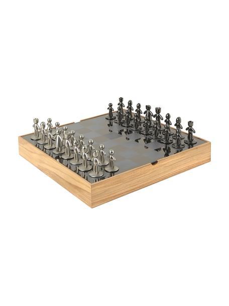 Schaakspel Buddy, 33-delig, Doos: essenhout, Doos: essenhoutkleurig. Schaakbord: titaniumkleurig. Figuren: nikkelkleurig, tit, 33 x 4 cm