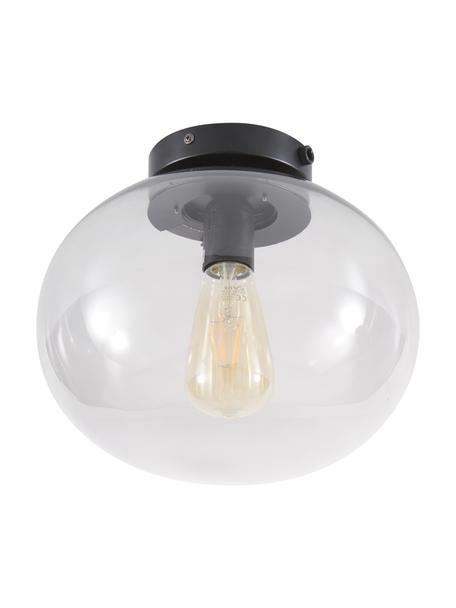 Kleine Deckenleuchte Alton aus Glas, Lampenschirm: Glas, getönt, Baldachin: Metall, beschichtet, Grau, Transparent, Schwarz, Ø 28 x H 24 cm