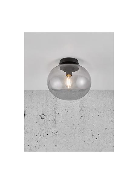 Kleine plafondlamp Alton van glas, Lampenkap: getint glas, Baldakijn: gecoat metaal, Grijs, transparant, zwart, Ø 28 cm