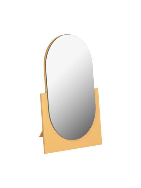Ovale make-up spiegel Mica met een geel houten frame, Frame: gecoat MDF, Geel, 17 x 25 cm
