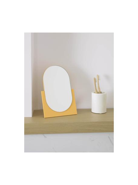 Make-up spiegel Mica, Voetstuk: gecoat MDF, Geel, 17 x 25 cm