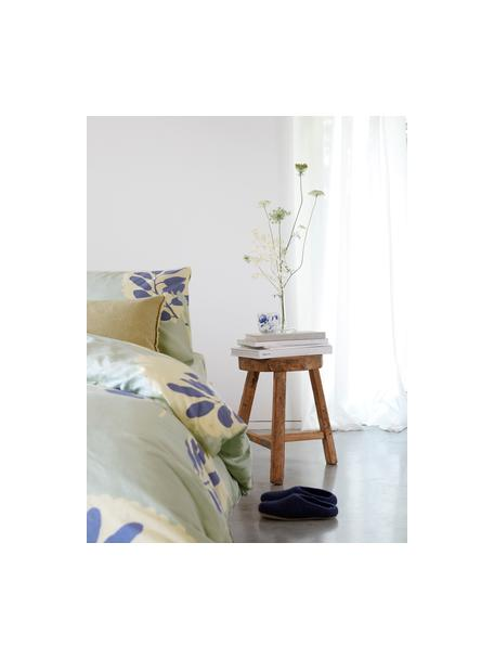Dekbedovertrek Romantic Leaves, Weeftechniek: renforcé Draaddichtheid 1, Grijsblauw, crèmekleurig, indigoblauw, 140 x 220 cm + 1 kussen 60 x 70 cm
