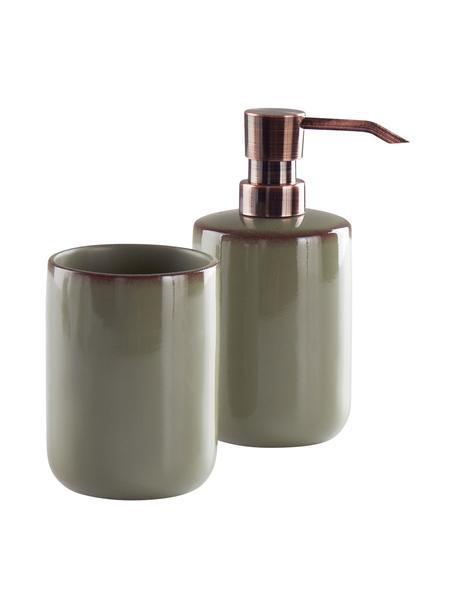 Set 2 accessori da bagno Sloane, Poliresina, Verde, color bronzo, Set in varie misure